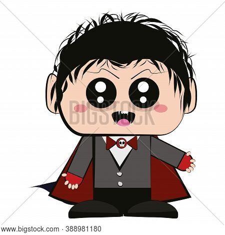 Cartoon Of A Vampire Kawaii. Vampire Halloween Costume - Vector