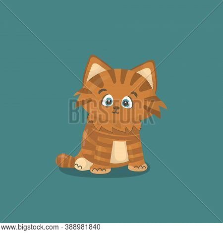 Small Red Or Brown Happy Friendly Isolated Vector Hand Drawing Cartoon Character Cat Or Kitten On Bl