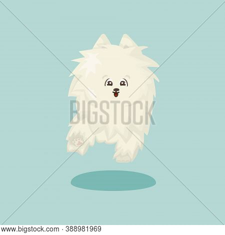 White Fluffy Cartoon Happy Isolated Vector Flat Dog On Blue Or Green Background Is Running Or Jumps