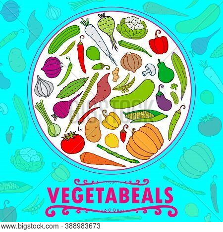 Fresh & Healthy Vegetables, Food, Line And Flat Colors