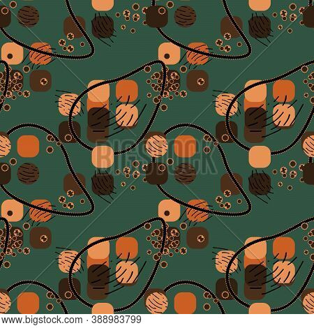 Abstract Brown Seamless Pattern With Yellow, Lemon,green And Black, Dark Brown Colors, Lines