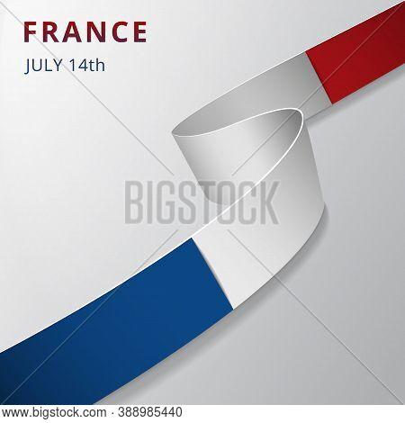 Flag Of France. 14th Of July. Bastille Day. Vector Illustration. Wavy Ribbon On Gray Background. Ind