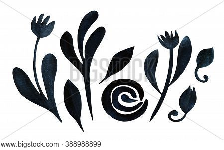 Set With Autumn Flowers, Leaves, Buds Isolated On White. Boho Watercolor In Trendy Earthy Blue Color