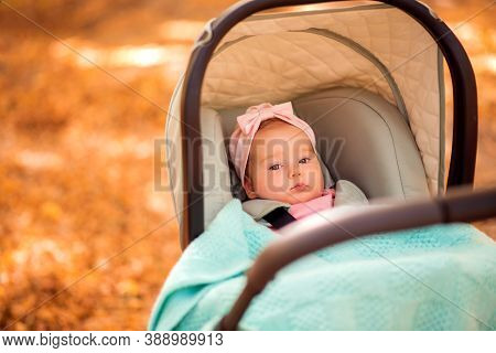 Infant Baby Girl In Pink Hat Lying Under Blanket And Bonnet In Stroller Outdoors At Autumn Park. Fal
