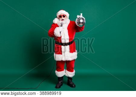 Full Length Body Size View Of His He Nice Handsome Bearded Cheerful Santa Grandfather Soloist Star S
