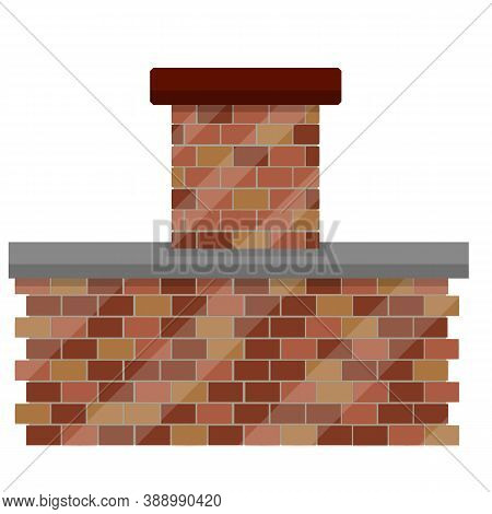 Tube And Chimney With Smoke On Roof Of House. Top Element Of The Building. Red Brick Element.