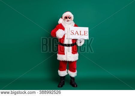 Full Length Body Size View Of His He Nice Fat Cheerful Cheery Glad Santa Holding In Hand Sale Promo