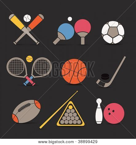 Abstract style sports equipment color icons
