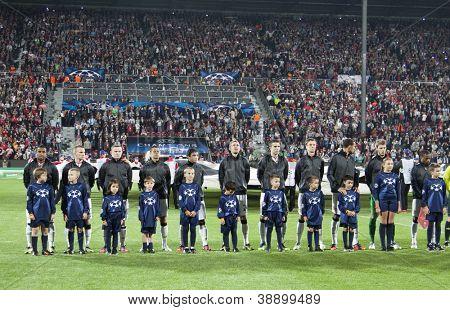 CLUJ-NAPOCA, ROMANIA - OCTOBER 2: Team photo of Manchester United before UEFA Champions League match, CFR 1907 Cluj vs Manchester United,  on 2 Oct., 2012 in Cluj-Napoca, Romania