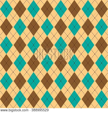 Argyle Seamless Pattern In Classic Colors. Fabric Texture Background With Rhombuses, Staggered. Argy