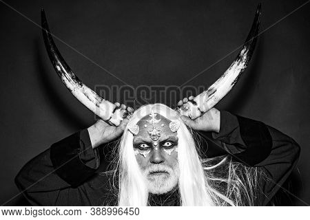 Wizard Demon Man With Dragon Skin And Horns. Tree Spirit And Fantasy Concept. Devil Horns. Alien Wit