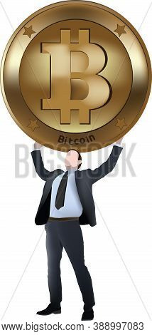 Executive Man Successfully Raises Bitcoin Symbol Executive Man Successfully Raises Bitcoin Symbol