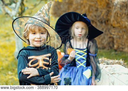 Two Kids Like Skeleton Or Witch Ready For Trick Or Treat. Surprised Group Little Zombie In Halloween