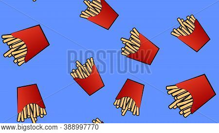 Pattern, French Fries In A Red Cup Made Of Cardboard, Vector Illustration. On A Blue Background. Mou