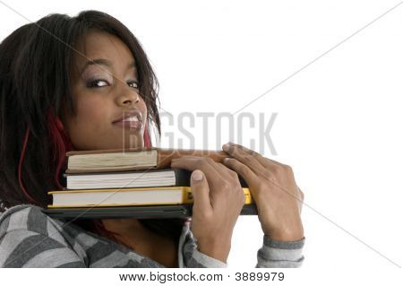 Girl Keeping Her Chin On Books