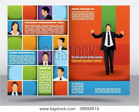 Business themed brochure design template with portraits of businessman and space for different sized text poster