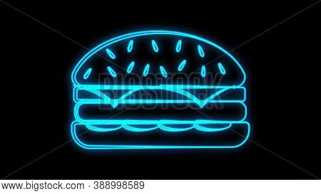 Burger On A Black Background, Vector Illustration. Neon Burger With Blue Outline. Neon Sign For Fast