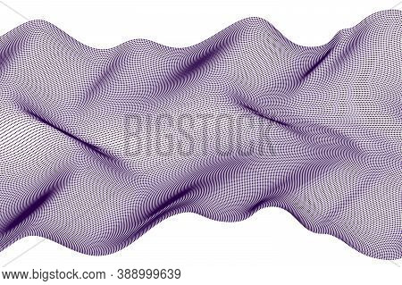 Dotted Particles Flow Vector Abstract Background, Science And Technology Theme Illustration, Array O