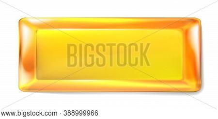 Rectangular Gold Ingot Isolated On White Background. Realistic Precious Metal, Gold Bullion, Top Vie