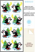 Christmas or New Year visual puzzle: Match the pairs - find the exact mirror copy for every picture of skating penguin and christmas tree. Answer included. poster