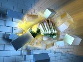A metallic fist breaking through a brick wall. Digital illustration. poster