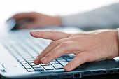 Hands typing on laptop keyboard poster