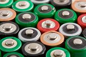 Many colorful batteries in a rows poster