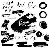Ink grunge design elements poster