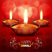 beautiful shiny diwali diya placed on artistic red background poster