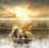 Fantastical glowing golden lion statue with wings in majestic heavenly setting poster