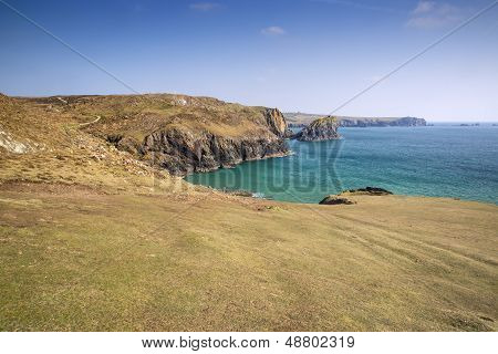View from cliff tops across Kynance Cove
