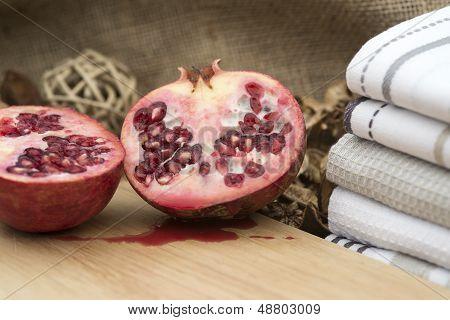 Macro Image Of Fresh Cut Pomegranite