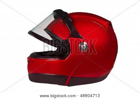 Motorcycle Helmet With A Raised Glass