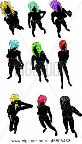 silhouette of women with colorful  hair