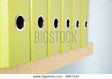 Row Of Green Ring Binders