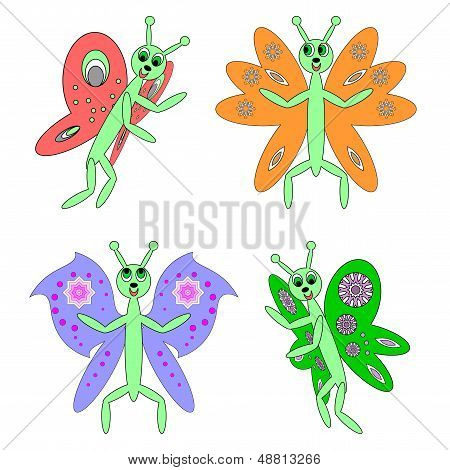 Funny Butterflies On A White Background