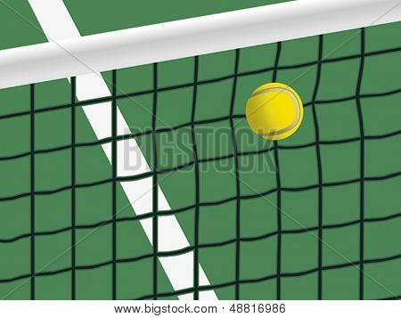Tennis ball hit the net. Vector format EPS 8, CMYK.