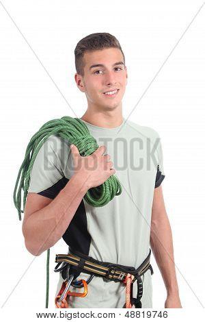 Young Man Ready To Climb