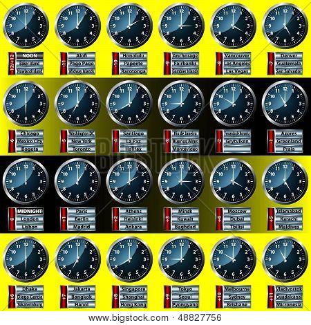 World Time Zone Clock Display