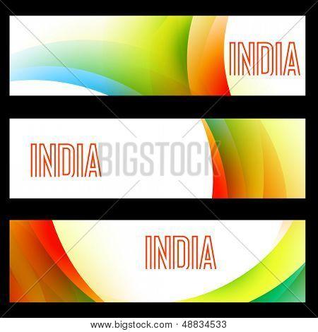 beautiful set of indian flag headers poster