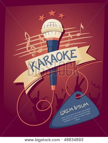 Karaoke night club. Vector illustration on a musical theme party