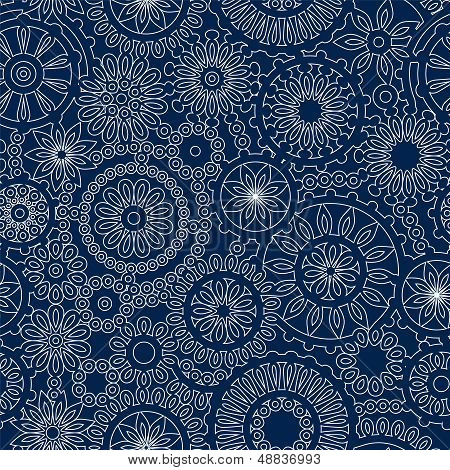 Christmas snowflake lacy crochet seamless pattern in blue and white, vector
