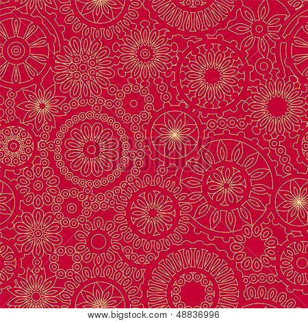 Christmas snowflake lacy crochet seamless pattern in red and yellow, vector