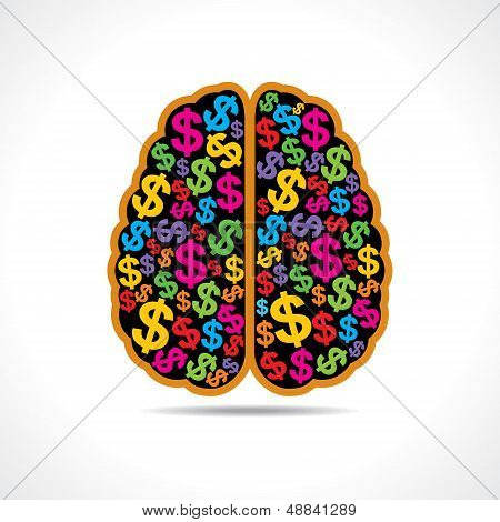 Conceptual idea  silhouette image of brain with dollar symbol