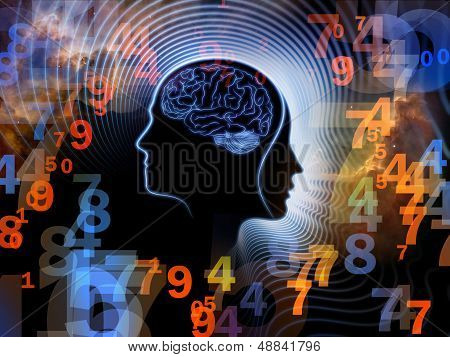Composition of human feature lines and symbolic elements on the subject of human mind consciousness imagination science and creativity poster