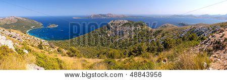 Panorama View Of Cala Pi De La Posada In Mallorca, Spain