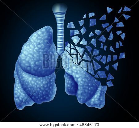 Lung illness and losing human lungs health care concept as a decline in respiratory function caused by cancer or disease as the organ slowly breaks down in little pieces on a black background. poster