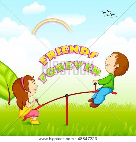 vector illustration of kids riding on seesaw for Friendship Day poster