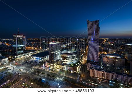 Night Panorama Of Warsaw City Center