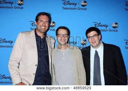 LOS ANGELES - AUG 4:  Steve Pearlman, Edward Kitsis & Adam Horowitz arrives at the ABC Summer 2013 TCA Party at the Beverly Hilton Hotel on August 4, 2013 in Beverly Hills, CA